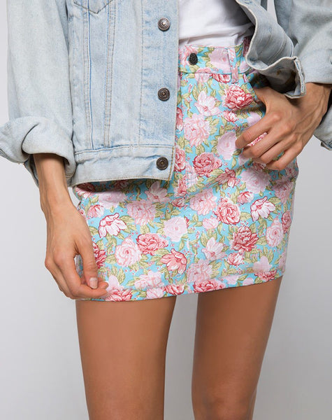 Mini Broomy Skirt in Bloom Floral Blue Base by Motel