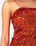 Cecile Slip Dress in Velvet Rust Sequin by Motel