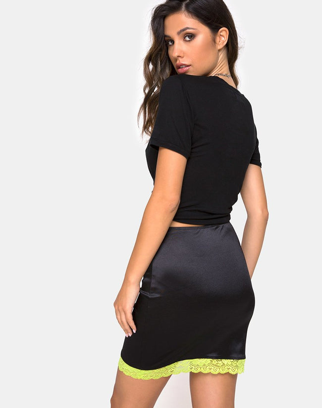 Cherry Skirt in Satin Black w/ Lime Lace by Motel