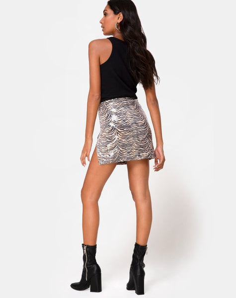 Cheri Split Mini Skirt in Tiger Clear Sequin by Motel