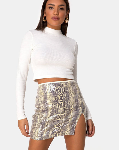 Cheri Split Mini Skirt in Acid Snake Clear Sequin by Motel