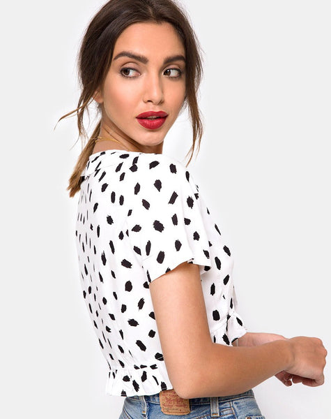 Chisa Top in Diana Dot White by Motel