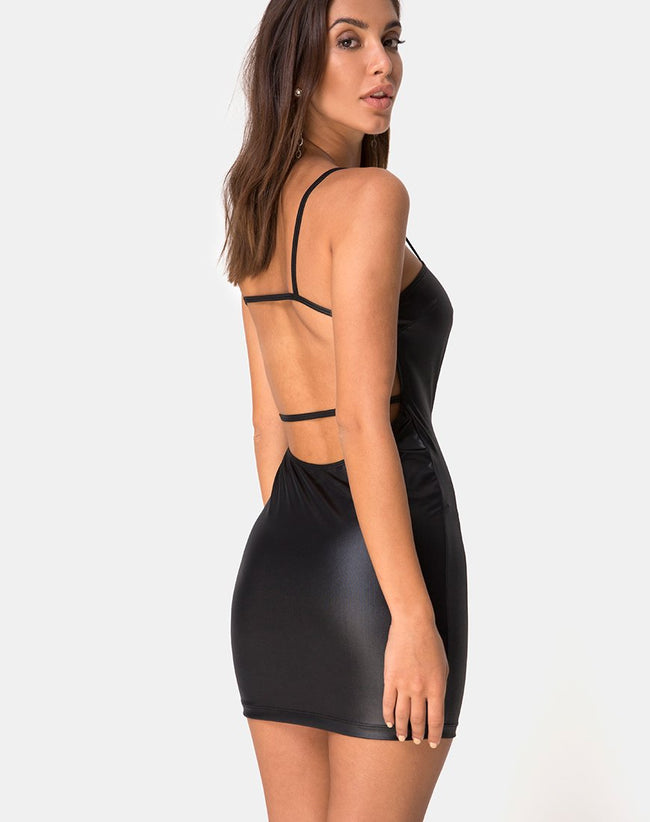 Cinelle Bodycon Dress in Black Coated Spandex by Motel