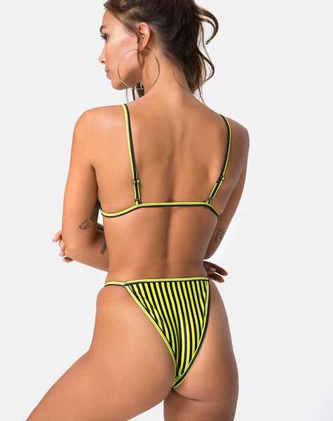 Clova Bikini Top in Slim Stripe Black Citrine By Motel