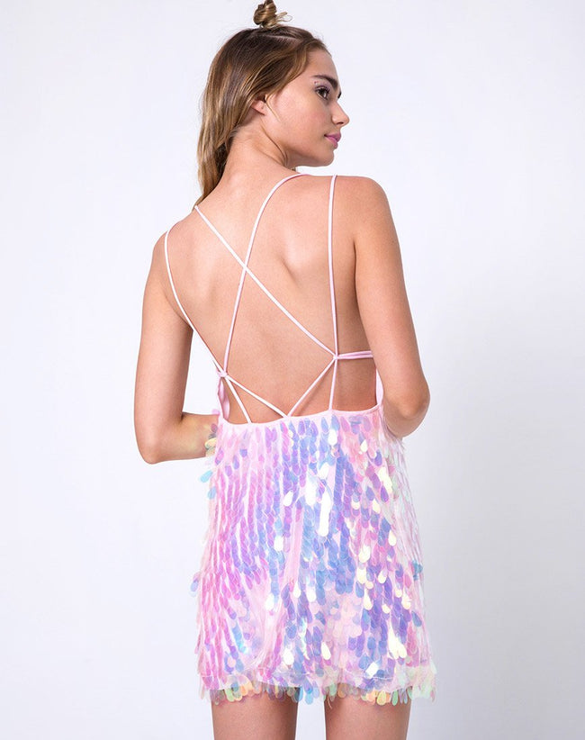 Colete Slip Dress in Opal Unicorn Sequin Pink by Motel