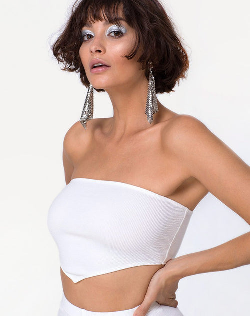 Diamond Tube Top in Mini Rib White by Motel