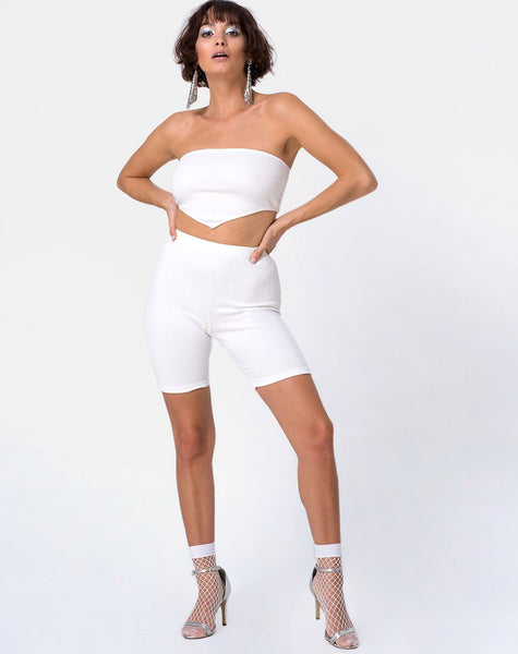Bike Short in Mini Rib White by Motel
