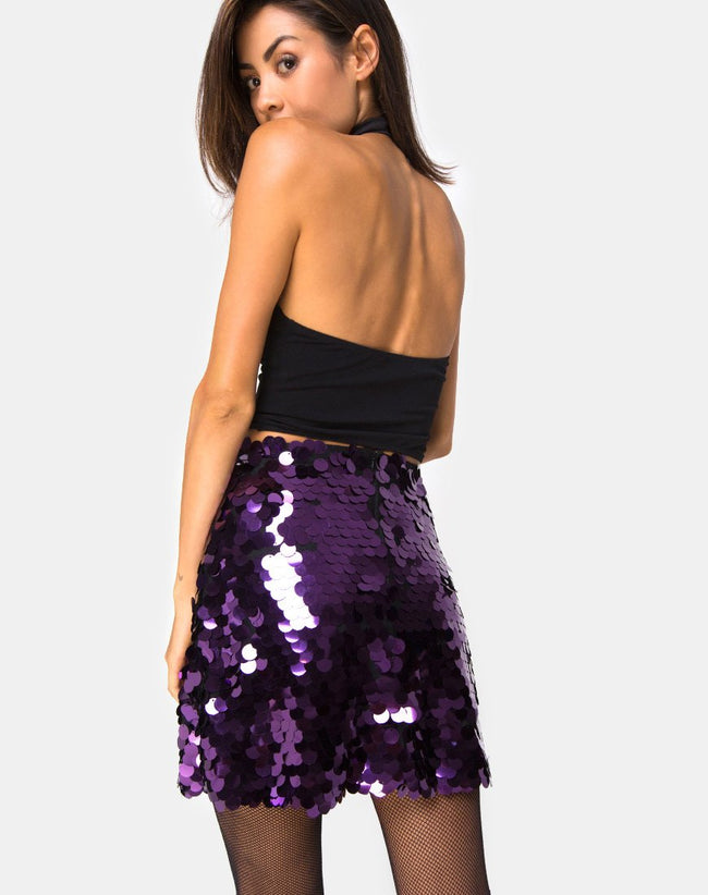 Weaver Mini Skirt in Plum Disc Sequin by Motel