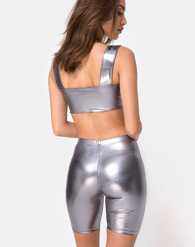 Bike Short in Metallic Silver by Motel