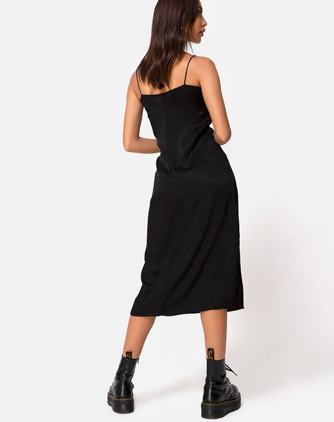 Cypress Midi Dress in Satin Cheetah Black by Motel