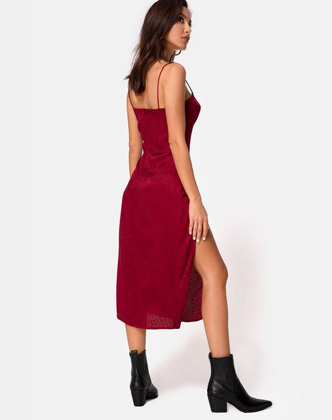 Cypress Midi Dress in Satin Cheetah Raspberry by Motel