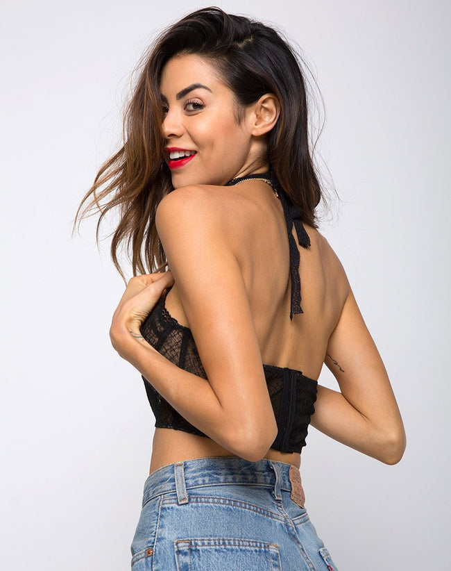 Cyrilla Bralet in Lacey Knit Black by Motel