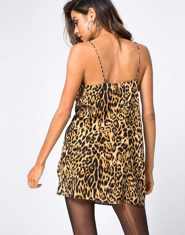 Datista Slip Dress in Leopard by Motel