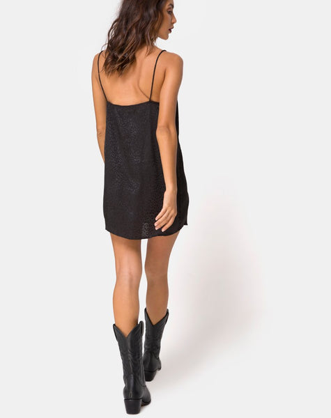 Datista Slip Dress in Satin Cheetah Black by Motel