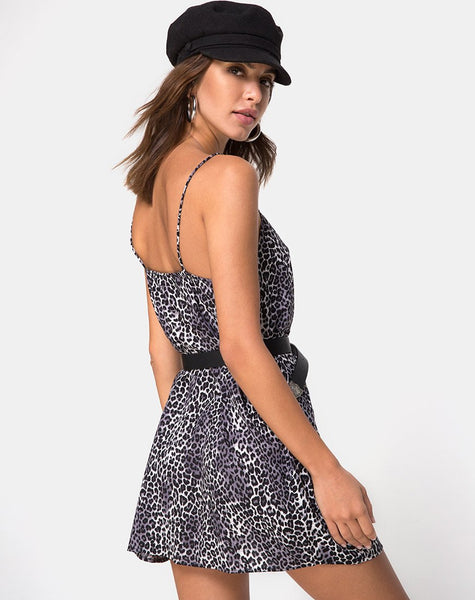 Datista Slip Dress in Rar Leopard Grey by Motel