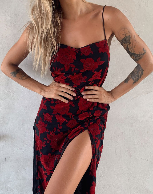 Daxita Dress in Romantic Red Rose Flock by Motel