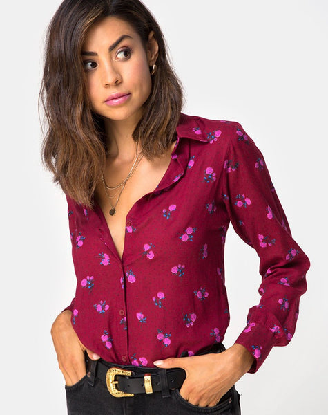 Dimaris Shirt in Magenta Rose Pink by Motel