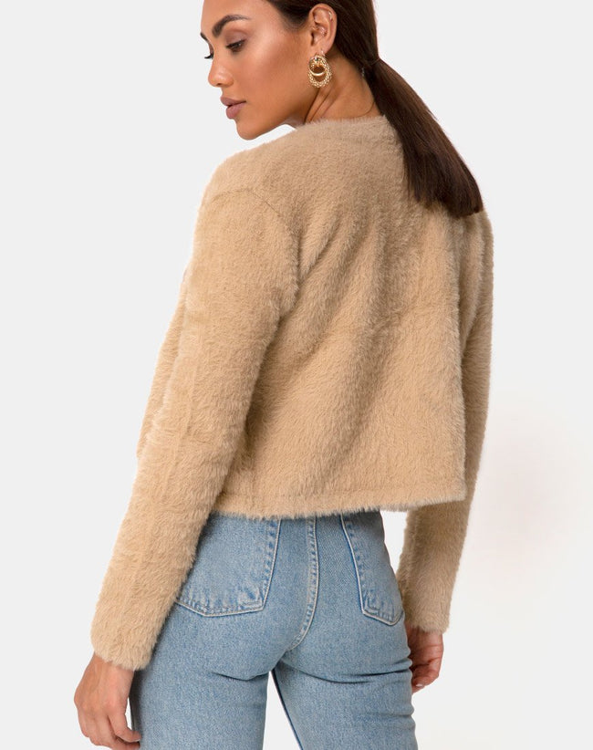 Doma Cardigan in Camel Knit by Motel