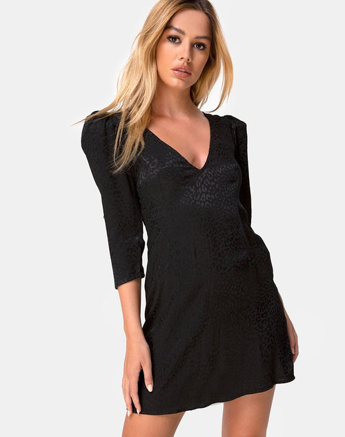 Dumia Dress in Satin Cheetah Black by Motel