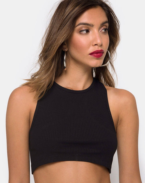 Edina Crop Top in Rib Black by Motel