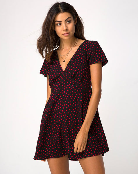 Elara Dress in Mini Diana Dot Black and Red by Motel