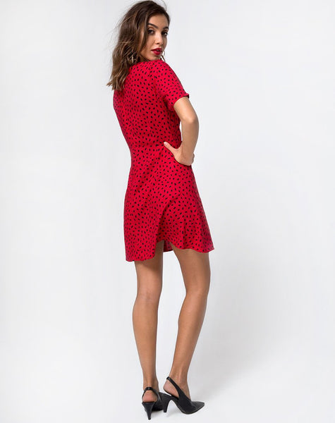 Elara Dress in Mini Diana Dot Red and Black by Motel