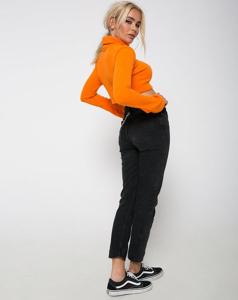 Elena Crop Top in Rib Knit Orange by Motel