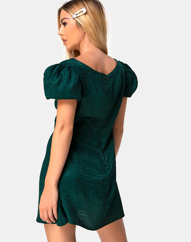 Elfy Mini Dress in Satin Cheetah Forest Green by Motel