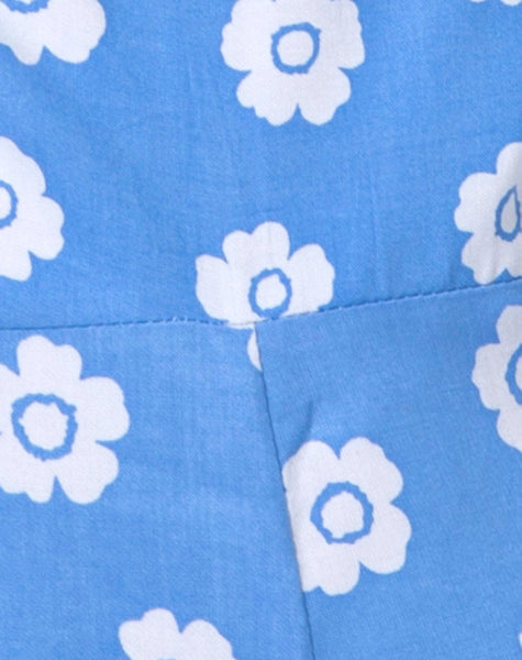 Elusi Playsuit In Daisy Stamp Blue Sky by Motel