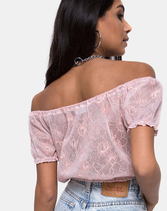 Eva Crop Top in Lace Rose by Motel