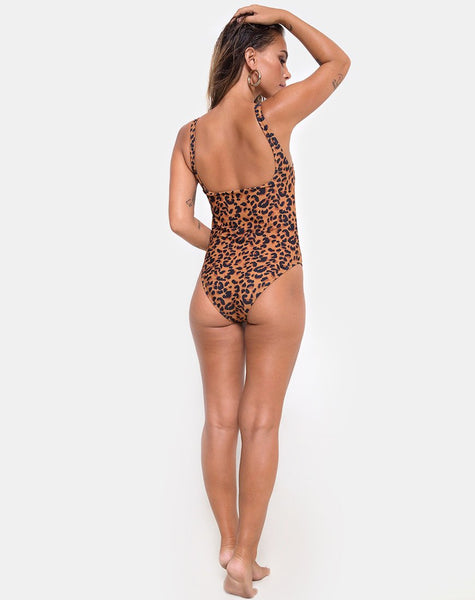 Evita Swimsuit in Burn Out Leopard by Motel