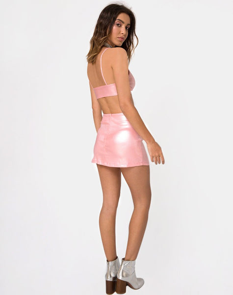 Ewi Mini Skirt in Metallic Shimmer Baby Pink by Motel