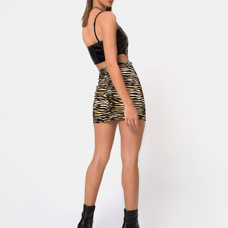 Exni Mini Skirt in Zip's Zebra Brown By Motel