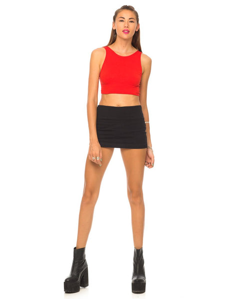 Motel Faith Tie Red Crop Top in Red