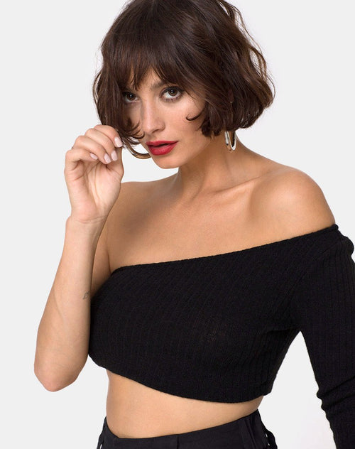 Fiax Top in Rib Black by Motel