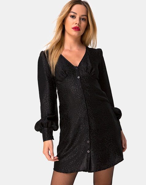 Flara Dress in Satin Cheetah Black by Motel