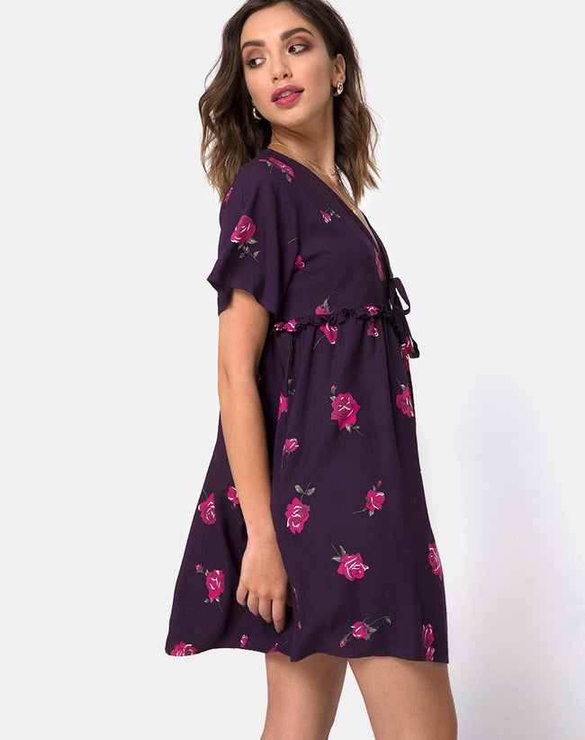 Flawa Mini Dress in Evening Rose By Motel