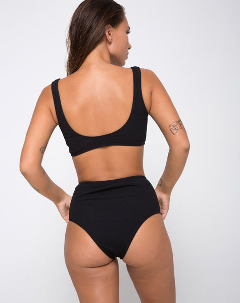 Fleata Bikini Bottom Mini Rib Textured Onyx by Motel
