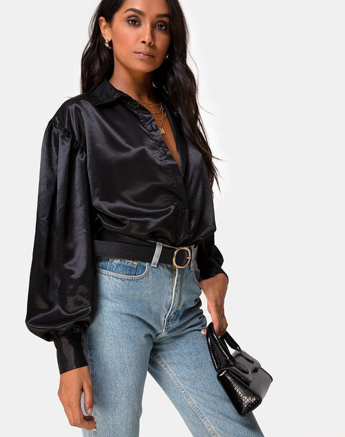 Frantic Longsleeve Blouse in Satin Black by Motel