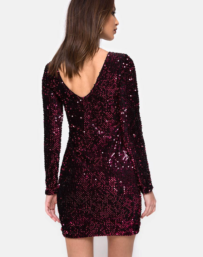 Gabby Plunge Back Dress in Wine Sequin by Motel