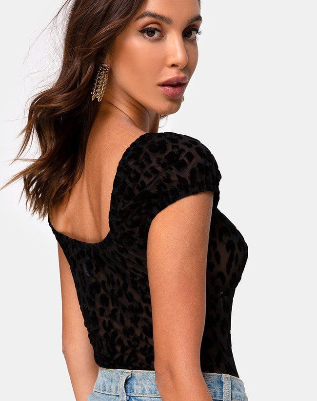 Galacta Bodice in Animal Black Net by Motel