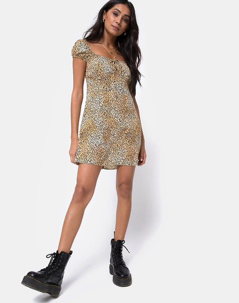 Gaval Mini Dress in Mini Tiger Brown By Motel