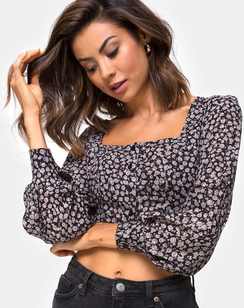 Gazalo Cropped Top in Ditsy Rose Black by Motel