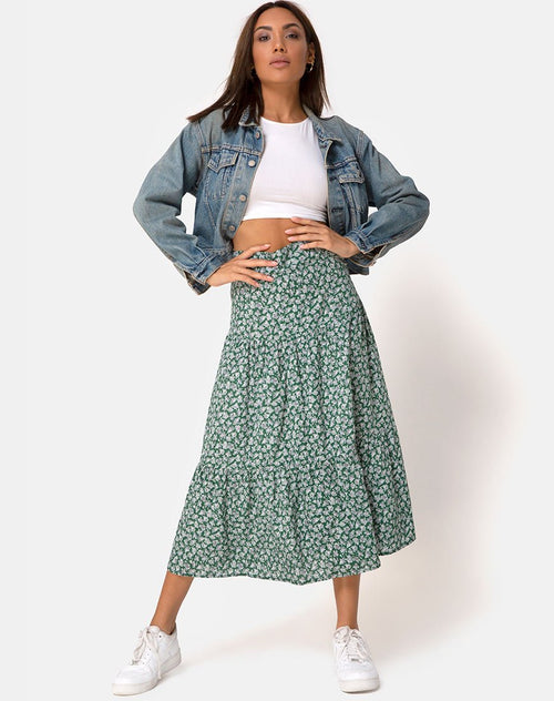 Gleas Skirt in Floral Bloom Green by Motel