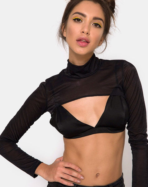 Gola Top in Sheer Mesh Black by Motel