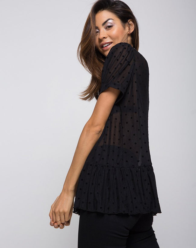 Gretta Top in Polka Net Black by Motel
