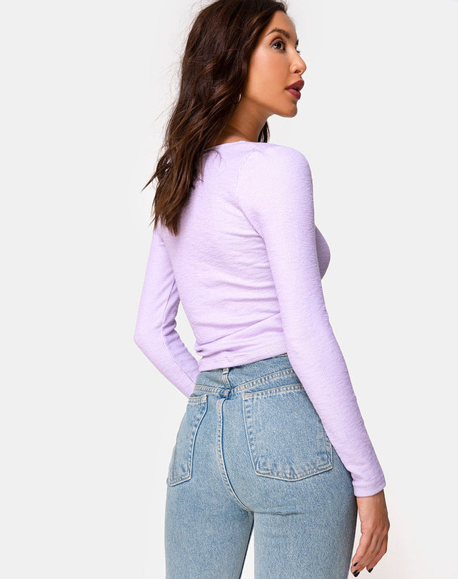 Guanelle Top in Rib Lilac by Motel