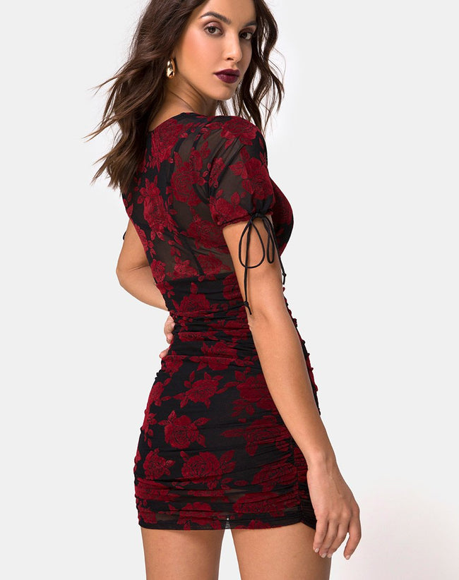 Guenetta Dress in Romantic Red Rose Flock by Motel