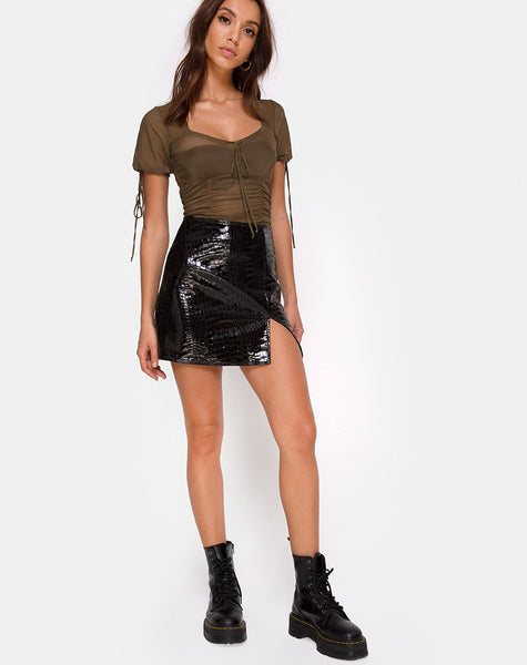 Guinevre Top in Olive Net by Motel