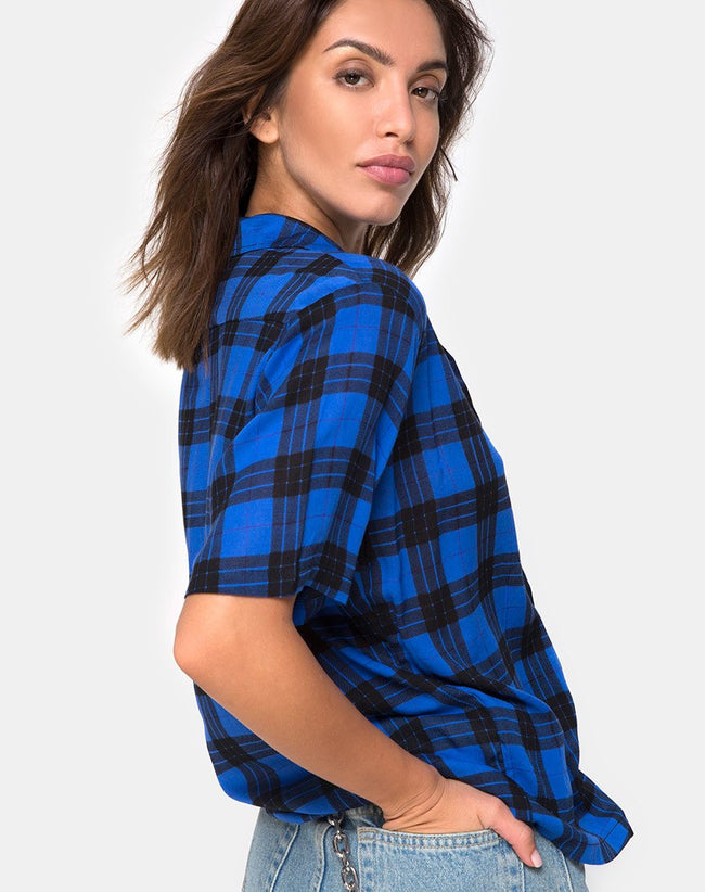 Hawaiian Oversized Shirt in Tartan Blue By Motel